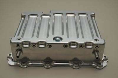 POWERGLIDE TRANSMISSION PAN WITH HEAT EXCHANGER